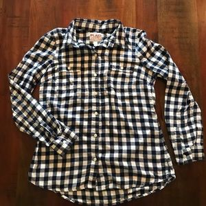 Old Navy Gingham Plaid Flannel Shirt in Navy